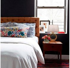 """Collected Eclecticist: @joannagoddard -- Many people think that a dark color on the walls will visually constrict the size of your room and make the space feel flat. Lifestyle blogger Joanna Goddard proves that with carefully selected pops of color, palpable textures + a glint of gold, dark walls can instead feel vibrant! Shop the pieces you need to get the look and see more bedroom interior design inspiration in """"9 Inspiring Instagram Bedroom Ideas to Steal"""" on the One Kings Lane Style Guid..."""