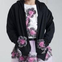 Tutu Moi Baby Girls Size 3M-L Black Hoodie Jacket Leopard Flowers