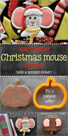 to Make Christmas Mouse Cookies with a Pumpkin Cutter, featuring Yankee Girl Yummies via Christmas Sugar Cookies, Christmas Sweets, Christmas Goodies, Holiday Cookies, Christmas Baking, Decorated Christmas Cookies, Christmas Cookie Cutters, Fancy Cookies, Iced Cookies