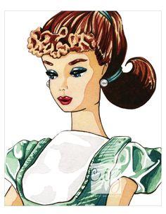 Aqua Dress Barbie 8x10 Watercolor Print. $25.00, via Etsy.