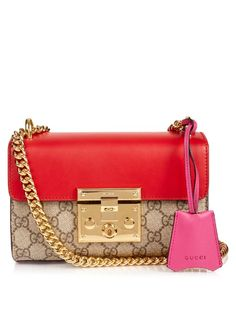 GUCCI Padlock Mini Gg-Canvas And Leather Shoulder Bag. #gucci #bags #shoulder bags #lining #canvas #suede