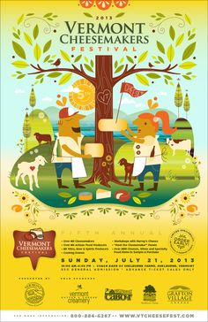 2013 Vermont Cheesemakers' Festival Poster. Illustrator — @Amy Lyons Ruppel; Art Direction — @Steve Benson Wetherby; www.vtcheesefest.com;  #vtcheesefest