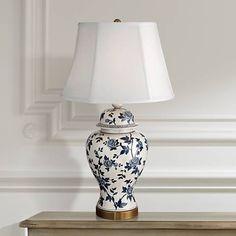 Rose Vine Blue and White Temple Jar Table Lamp - #4D609 | Lamps Plus