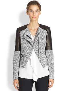 Tweed & Leather Jacket - Zoom - Saks Fifth Avenue Mobile