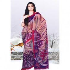 Blue violet and Crimson printed saree for $30