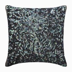 """Decorative Blue Throw Pillow Cover Custom 16""""x16"""", Silk Sofa Cushion, Sequins Embroidered Designer Pillow Modern Lounge Style-Dazzling Flora"""