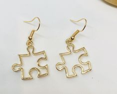 Gold puzzle piece earrings, autism earrings, gold autism awareness earrings, autism awareness, autism symbol earrings by on Etsy Wire Jewelry Rings, Cute Jewelry, Diy Jewelry, Jewelery, Handmade Jewelry, Jewelry Making, Cute Earrings, Gold Earrings, Drop Earrings