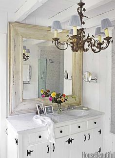 Bathroom ~ Going to have to go to Brimfield Antique show in July to look for mirror for upstairs bathroom redo & look for light fixtures.