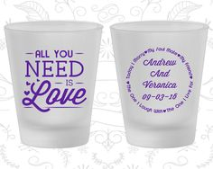 All you Need is Love, Wedding Favor Frosted Shot Glass, Love Wedding, Romantic Wedding, Hearts, Frosted Glasses (419)