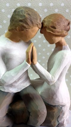 A figurine I would actually consider buying! Willow Tree Figures, Willow Tree Angels, Anniversary Greetings, Polymer Clay Dolls, Wooden Art, Beautiful Artwork, Wood Carving, Sculptures, Pottery