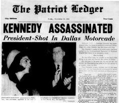 The Patriot Ledger front page on Nov. 22, 1963. http://www.rosettabooks.com/ebook/jfks-final-hours-in-texas/