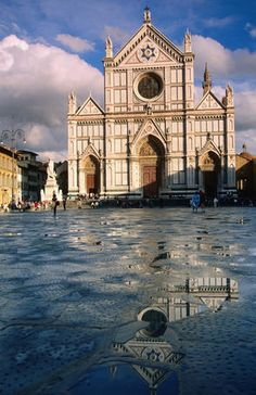 Santa Croce Church ~ Florence, Italy.  Many famous tombs are inside this church, namely Michelangelo.