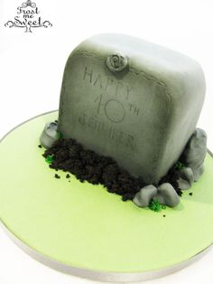 Frost Me Sweet Bistro & Bakery - Fun, Funny, & a Little Strange 40th Birthday Grave Stone Cake www.frostmesweet.com