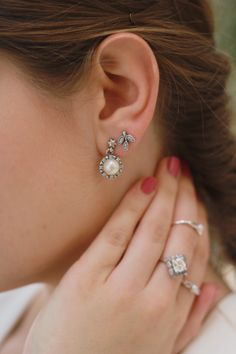 >>>Pandora Jewelry OFF! >>>Visit>> Stack your earrings for a unique look. Pandora Earrings, Pandora Bracelets, Pandora Jewelry, Charm Jewelry, Pandora Charms, Pearl Diamond, Diamond Earrings, Pearl Earrings, Diamond Are A Girls Best Friend