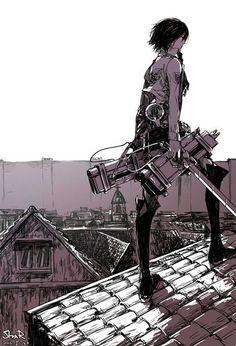 Mikasa Ackerman in Attack on Titan - Shingeki no Kyojin Mikasa, Attack On Titan Hoodie, Attack On Titan Fanart, Levi X Eren, Armin, Anime Girls, Manga Anime, Snk Annie, Rivamika