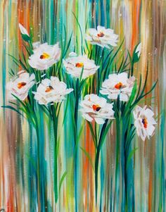 Acrylic Painting Inspiration, Acrylic Painting Flowers, Watercolor Flowers Tutorial, Flower Drawing Tutorials, Daisy Art, Spring Painting, Learn Art, Diy Canvas Art, Flower Art
