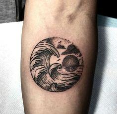 Wave tattoo, by Cindi Bonet @ Fallen Sparrows in Orlando, FL