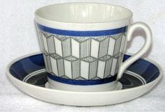 Gefle Fyr blå AU-2 tekopp Uppsala, Fika, Porcelain Ceramics, Teacups, Blue And White, Dishes, Mugs, Coffee, Retro