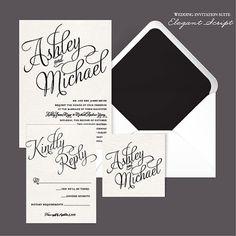 Elegant Script DIY Wedding Invitation by AffordableDIYWedding
