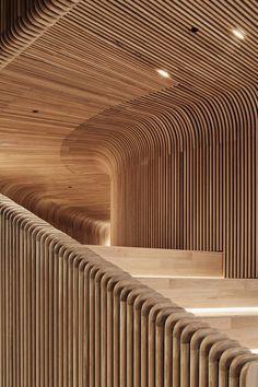 Steam-bent timber tunnels through Sculptform showroom by Woods Bagot.