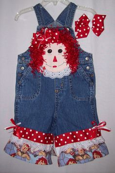 Custom boutique Little Girls Raggedy Ann overalls all sizes available | eBay