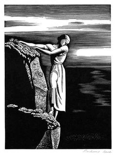 "Rockwell Kent - ""Girl on Cliff"" or ""The Abyss"" - 1930 - Wood Engraving"