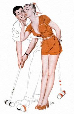 Play croquet for 20 minutes to burn off 55 calories. Add in a tall glass of real brewed unsweetened tea for a healthy dose of antioxidants. Vintage Love, Vintage Ads, Vintage Prints, Vintage Posters, Vintage Space, Vintage Romance, Croquet Party, Clean Shaven, Pulp Fiction