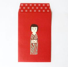 "Mini envelope ""KOKESHI"" via SEITOUSHA / kokeshi   -------- #japan #japanese #kokeshi"