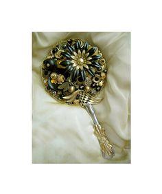 Hand Held Mirror Recycled Vintage Jewelry/ by LovesParisStudio,