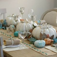 We've got your Thanksgiving table idea! took a fresh take on traditional fall colors with pops of teal. Shop this look, click the link. Thanksgiving Table Settings, Thanksgiving Decorations, Seasonal Decor, Fall Home Decor, Autumn Home, Fall Table Centerpieces, Table Decorations, Coastal Fall, White Pumpkins