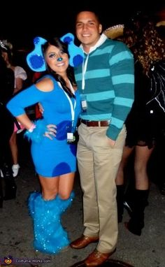 Blue's Clues Couple Costume - 2012 Halloween Costume Contest, why do I feel that this couple has a 2 year old at home and they don't get out much ha ha ha ha.
