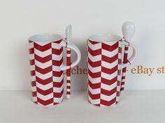 Starbucks 2013 2 Red & White 8 oz Mugs & Spoons Chevron Pattern New Display #Starbucks