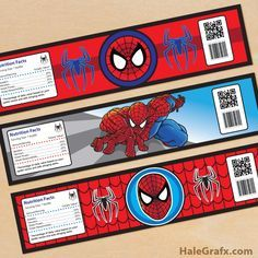 spiderman water bottle labels template labels templates