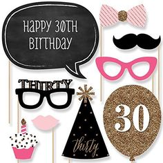 Chic 30th Birthday - Pink, Black and Gold - Birthday Photo Booth Props Kit - 20 Count Big Dot of Happiness http://smile.amazon.com/dp/B00WL6IXNC/ref=cm_sw_r_pi_dp_uJWawb1V5F9DH