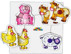 Set 2: Includes: Farm, Playing, Pets and Garden each with different colour pegs. #earlyyears #childhood #madeinbritain