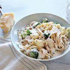 Cauliflower Alfredo | MyRecipes.com Cooked cauliflower becomes creamy and luscious when pureed with stock and garlic. It's a simple way to healthier fettuccine Alfredo.