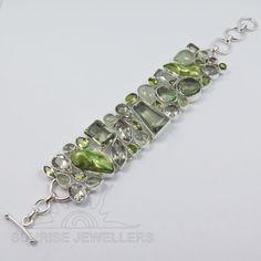925 Solid Sterling Silver GREEN AMETHYST, PEARL & More Gemstone Classic Bracelet #SunriseJewellers #Chain