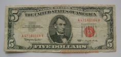 1963 5 Dollar Bill Red Seal United States Note