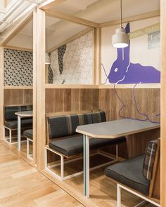 Linehouse has designed the new coworking offices of WeWork Yanping Lu located in Shanghai, China. WeWork Yanping Lu is located in the Jing'An district of Restaurant Booth, Restaurant Design, Restaurant Seating, Corporate Interiors, Office Interiors, Booth Seating, Office Interior Design, Cafe Design, Commercial Design
