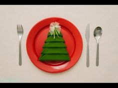 servett i form av en julgran