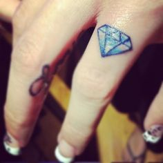 Small diamond finger tattoo <3