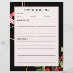 Appetizer Recipes | Black Botanical Cherries - tap, personalize, buy right now! #appetizer #recipe #pages #lined #binder Cookbook Recipes, Cookie Recipes, Baking Recipes, Appetizer Recipes, Salad Recipes, Food Dishes, Side Dishes, Elegant Appetizers, Modern Color Palette