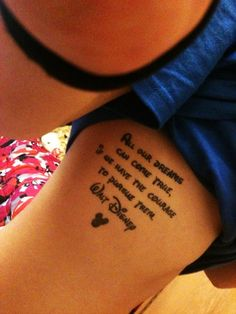 Cute Disney Rib Quote Tattoos for Girls - Rib Quote Tattoos for Girls
