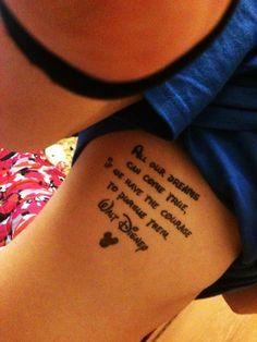 Cute Disney Rib Quote Tattoos for Girls - Rib Quote Tattoos for Girls