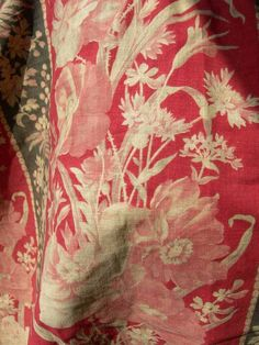 Antique French Poppy Clover Botanical Floral Cotton Fabric ~ Red Pink Eggplant