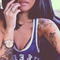 Gold Mid Finger Triple Rings, Gold Watch, Nude Color Lips, Basketball Jersey, Tatoos, Dark Hair. #Accessories #Jewelry #Ink