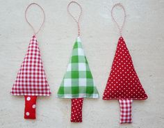 Christmas Tree Ornaments Fabric Christmas Decorations in green, red and white.