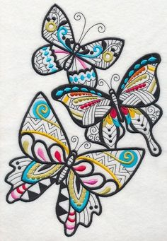 2 Butterfly blackwork with splash of color embroidered fabric quilt blocks
