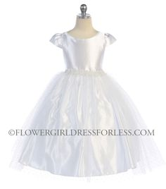 Girls Dress Style 559 -Short Sleeve Satin and Tulle Dress- Choice of White or Ivory $56.99