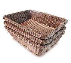 Amazon.com: Colorbasket EV02492 Rectangular Thick Trim Storage Basket (Set of 3), Large, Brown: Home & Kitchen
